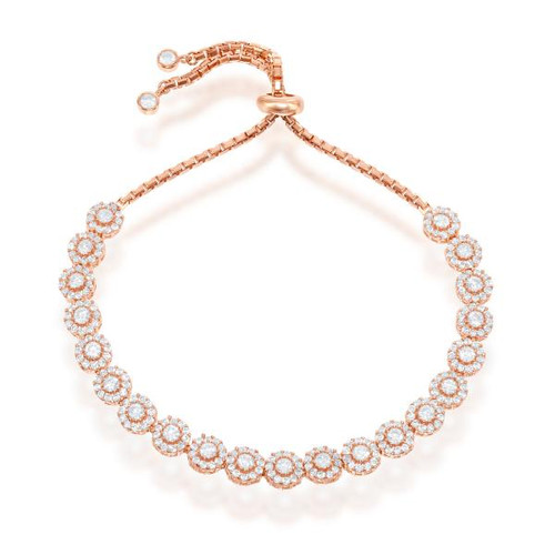 Sterling Silver Rose Gold Plated Adjustable Round Cubic Zirconia BOLO Bracelet