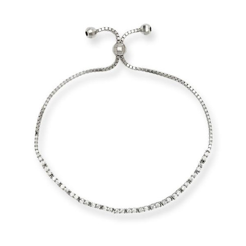 Sterling Silver Cubic Zirconia Tennis Adjustable BOLO Bracelet