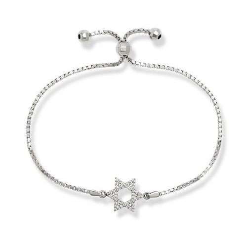 Sterling Silver Cubic Zirconia Star of David Adjustable BOLO Bracelet