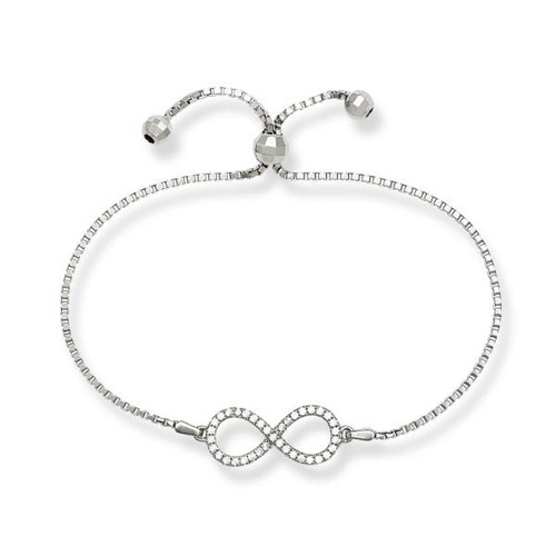 Sterling Silver Open Cubic Zirconia Infinity Adjustable BOLO Bracelet