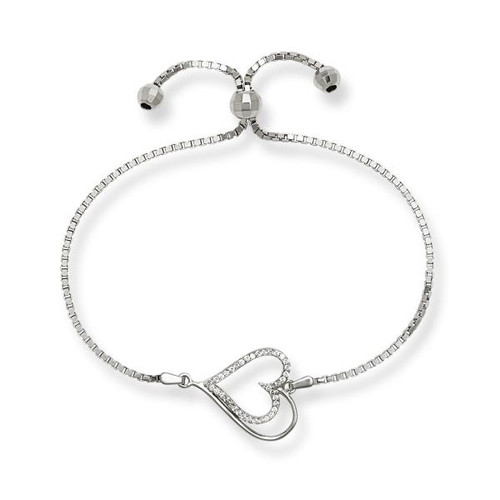 Sterling Silver Center Cubic Zirconia Open Heart Adjustable BOLO Bracelet