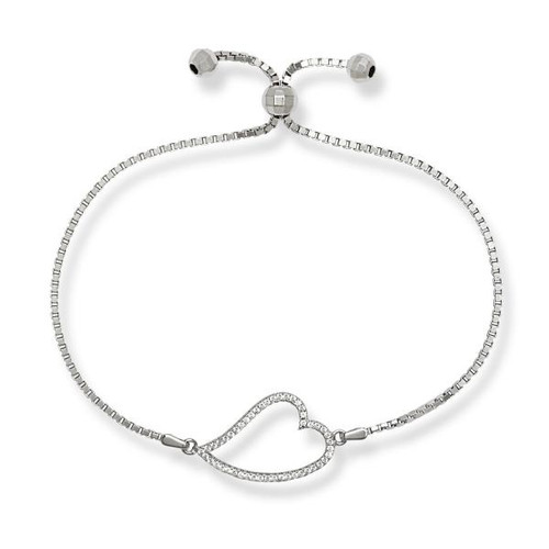 Sterling Silver Open Cubic Zirconia Curved Heart Adjustable BOLO Bracelet