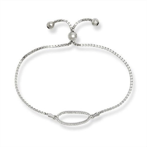Sterling Silver Cubic Zirconia Oval Adjustable BOLO Bracelet