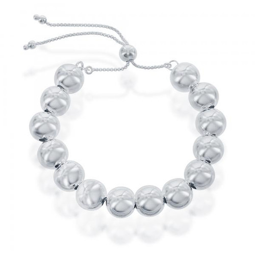 Sterling Silver 10MM Round Beads Adjustable BOLO Bracelet