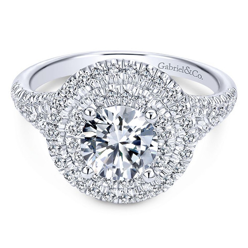 Colette 14k White Gold Round Double Halo Engagement Ring by Gabriel & Co.