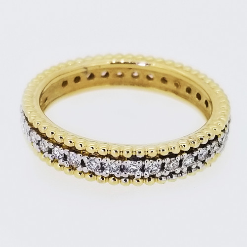 14KT Yellow Gold Round Cut Diamond Braided Stackable Band 0.65 ctw