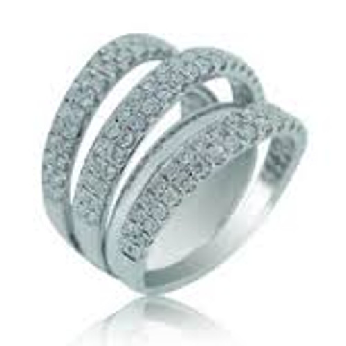 18 KT White Gold & Round Cut Triple Row Pave Diamond Right Hand Ring
