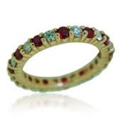 14 KT Rose Gold Round Cut Diamond & Ruby Eternity Ring in Shared Prong Setting