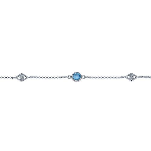 925 Silver Multi Color Stones Chain Bracelet TB3148SVJMC