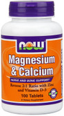 Mag & Calcium 1:2 Ratio 100 Tabs Now Foods, Bones