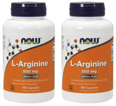 2-Pack Of L-Arginine 500 mg 100 Caps, Now Foods, Circulation Sexual Health