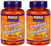 2-Pack Of L-Arginine/Ornithine 100 Caps, Now Foods