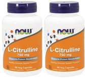 2-Pack Of L-Citrulline 750 mg 90 Caps, Now Foods, Cardiovascular Health
