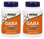 2-Pack Of GABA 750 mg 100 Vcaps, Now Foods, Promotes Relaxation