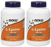 2-Pack Of Lysine 500 mg 250 Tabs, Now Foods, Pharmaceutical Grade Cold Sores