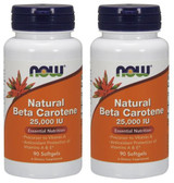 2-Pack Of Natural Beta Carotene 25000 90 Sgels, Now Foods