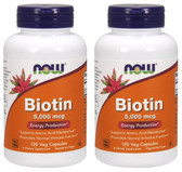 2-Pack Of Biotin 5 000 mcg 120 Vcaps, Now Foods, Energy Skin Hair & Nails