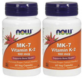 2-Pack Of MK-7 Vitamin K-2 100 mcg 60 Veggie Caps, Now Foods, Bones