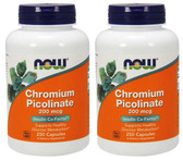 2-Pack Of Chromium Picolinate 200 mcg 250 Caps, Now Foods