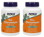 2-Pack Of Tri-Chromium 500 mcg + Cinnamon 180 Vcaps, Now Foods