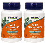 2-Pack Of GTF Chromium 200 mcg 100 Tabs, Now Foods