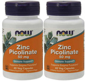 2-Pack Of Zinc Picolinate 50 mg 60 Caps, Now Foods, Kidney Liver