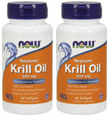 2-Pack Of Neptune Krill Oil 500 mg 60 sGels, Now Foods