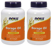 2-Pack Of Borage Oil 1000 mg 120 sGels, Now Foods, Joints