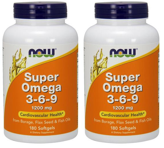 2 pack of super omega 3 6 9 1200 mg 180 sg now foods for Fish oil 3 6 9