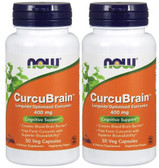 2-Pack Of CurcuBrain Cognitive Support 400 mg 50 Veggie Caps, Now Foods