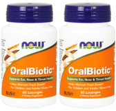 2-Pack Of OralBiotic 60 Lozenges, Now Foods, Reduces Bad Breath