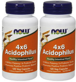 2-Pack Of 4x6 Acidophilus 120 Caps, Now Foods, Digestion