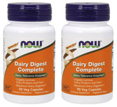 2-Pack Of Dairy Digest Complete 90 Vcaps, Now Foods, Dairy Tolerance Enzymes