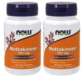 2-Pack Of Nattokinase 100 mg 60 Vcaps, Now Foods, Circulation