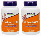 2-Pack Of Colostrum 500 mg 120 Caps, Now Foods, Healthy Immune Function
