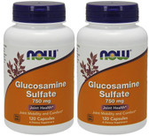 2-Pack Of Glucosamine Sulfate 750 mg 120 Caps, Now Foods, Joints Arthritis