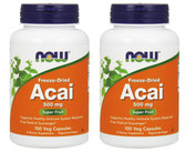 2-Pack Of Acai 500 mg 100 Vcaps, Now Foods, Antioxidant Immune Heart