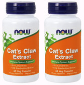 2-Pack Of Cat's Claw Extract 60 Veg Caps, Now Foods, Immune Support
