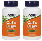 2-Pack Of Cat's Claw 500 mg 100 Caps, Now Foods, Immune System Support