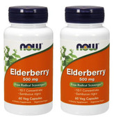 2-Pack Of Elderberry Extr 500 mg 60 Vcaps, Now Foods, Immune Support Vegetarian