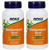 2-Pack Of Goldenseal Root 500 mg 100 Caps, Now Foods