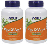 2-Pack Of Pau D' Arco 500 mg 100 Caps, Now Foods, Intestinal Flora