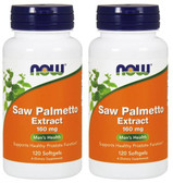 2-Pack Of Saw Palmetto 160 mg 120 Sgels, Now Foods, Prostate Health