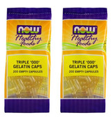 "2-Pack Of Triple ""000"" Gelatin Caps 200 Empty Caps, Now Foods"