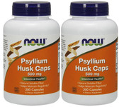 2-Pack Of Psyllium Husk 500 mg 200 Caps, Now Foods, Intestinal Health