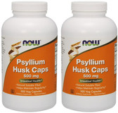2-Pack Of Psyllium Husk Caps 500 Caps, Now Foods