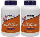 2-Pack Of Beef Gelatin 550 mg 200 Caps, Now Foods