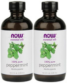 2-Pack Of Peppermint Oil 4 oz, Now Foods, Aromatherapeutic Oil
