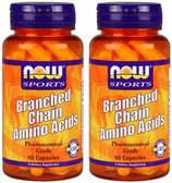 2-Pack Of Branched Chain Amino Acids 60 Caps, Now Foods, Fitness Support