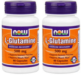2-Pack Of Glutamine 500 mg 60 Caps, Now Foods, Exercise Recovery